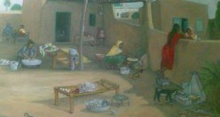 Village homes courtyard view painting